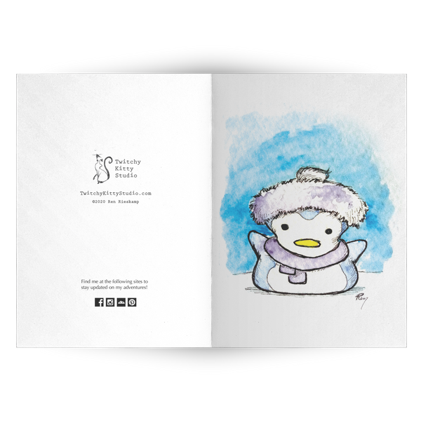 Marshmallow Penguin Note Card Set