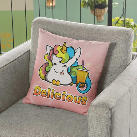"""Delicious"" Cotton Candy Faux Suede Square Pillow"