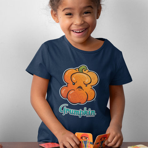 "Young child wearing Grumpy Pumpkin kids' tee in navy. Grumpy orange pumpkin with a scowl on it's face adorns the front, with the word ""Grumpkin"" in blue beneath."