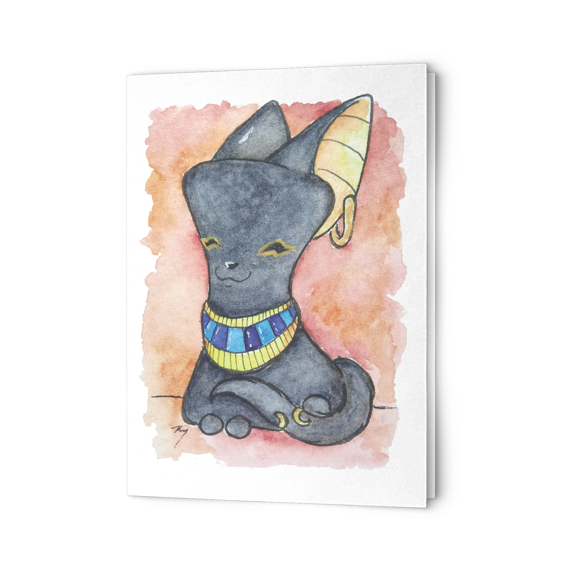 Watercolor Marshmallow Bast Note Card