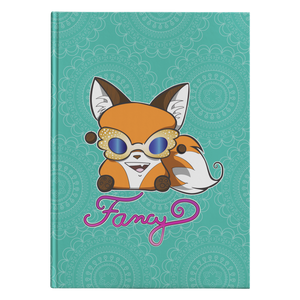 "Photo of  journal front cover. It is teal blue with a mandala pattern in white. There's an adorable orange and brown marshmallow fox wearing gold wing-shaped rhinestone sunglasses with blue lenses and  ""Fancy"" is written in script underneath the fox."