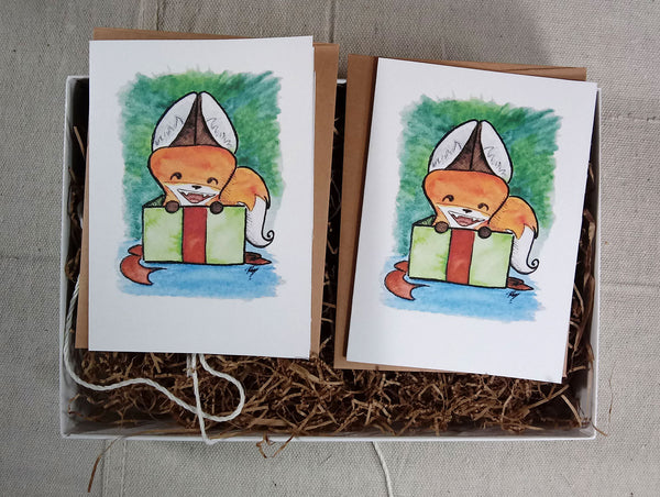 Greeting Card: Yip in a Gift Box
