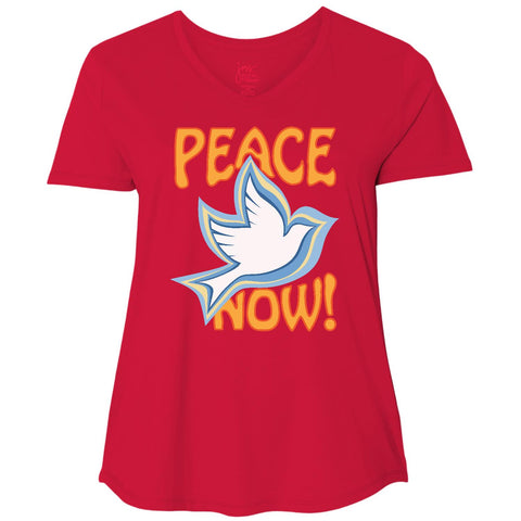 Peace Now, Women's Plus Size Short Sleeve V Neck TShirt