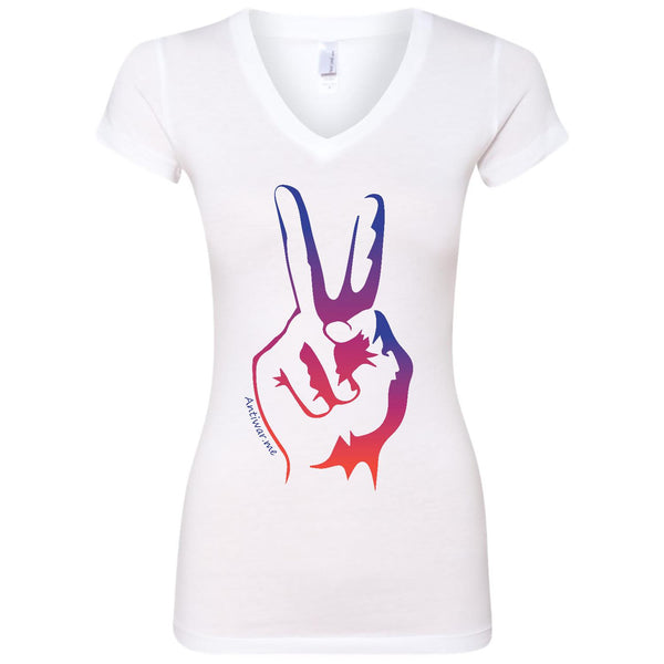 Spring Peace, Women's Fitted Short Sleeve Sporty V Neck TShirt
