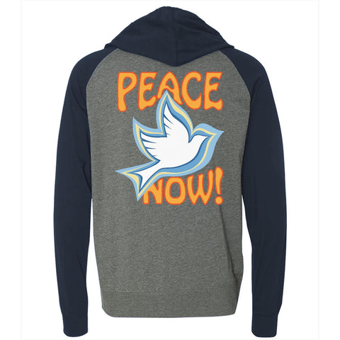 Peace Now, Men's Long Sleeve Lightweight Jersey Raglan Hoodie