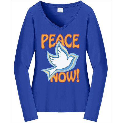Peace Now, Women's Long Sleeve V-Neck TShirt