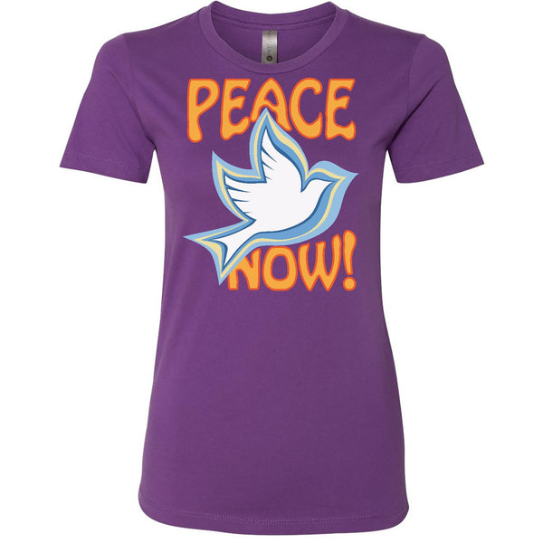 Peace Now, Women's Fitted Short Sleeve Boyfriend Crew Neck TShirt