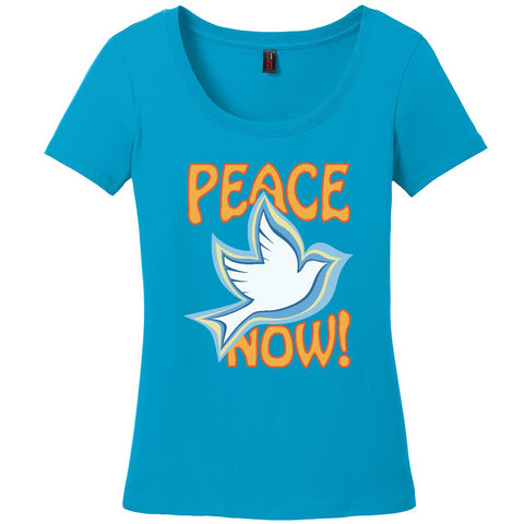 Peace Now, Women's Short Sleeve Scoop TShirt