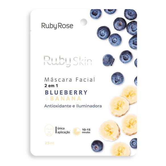 Máscara Facial Ruby Rose Blueberry e Banana 25ml