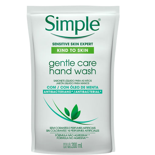 Sabonete Líquido Simple Gentle Care Hand Wash Refil 200ml