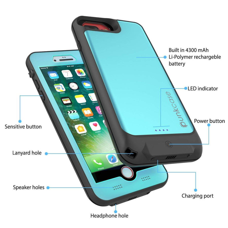 quality design df47a 136f6 PunkJuice iPhone 8/7/6S/6+ Plus Battery Case Waterproof Slim Power ...