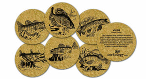 Corkology.com Fresh Water Fish Cork Coasters, 3.75