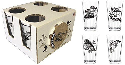 Corkology Freshwater Fish Pint Pack with Matching Coaster Set, Clear