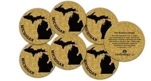 Corkology Michigan Coaster Set, Cork