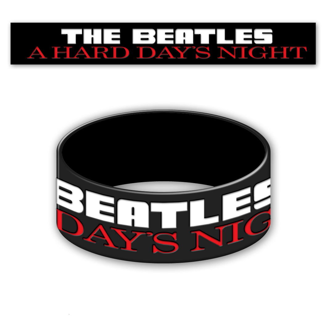 The Beatles Hard Day's Night -  Black Rubber Bracelet