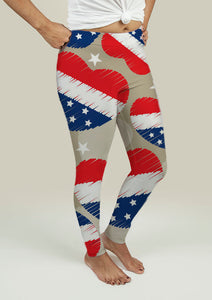 Leggings with American Independence Day Pattern
