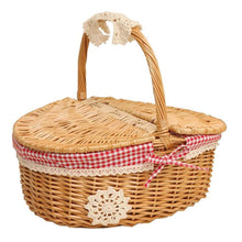 Load image into Gallery viewer, Wicker Camping Picnic Basket
