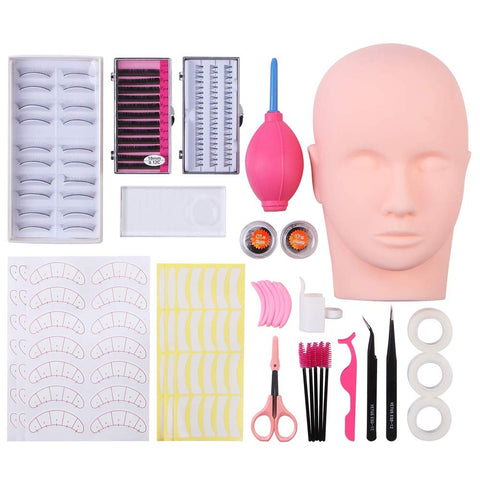 False Eyelashes Extensions Practice Training Mannequin Head Set for Beginners