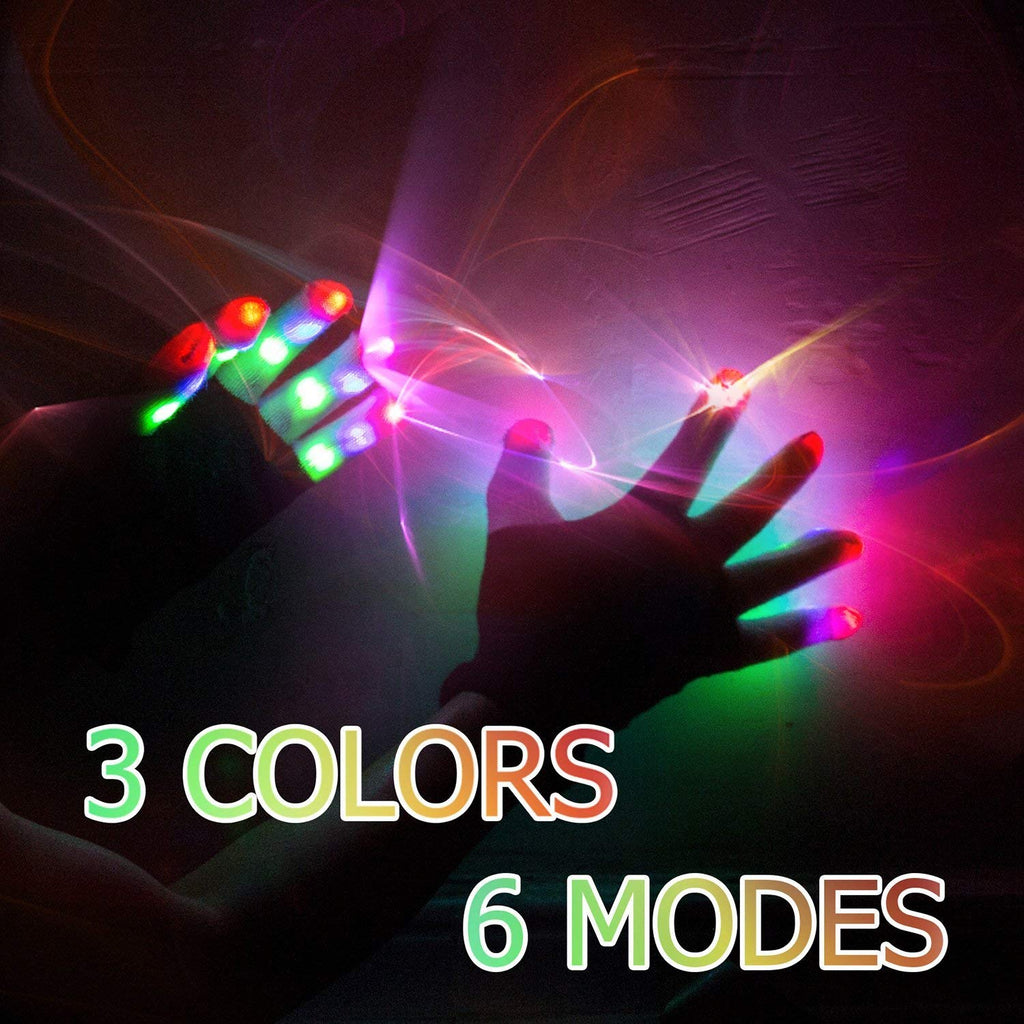 LED Gloves Finger Lights 3 Colors 6 Modes Flashing Rave Gloves Halloween Costume Party Favors Light Up Toys Novelty Christmas Gift
