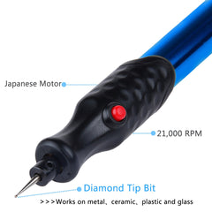 Electric Engraving Pen - Cordless Precision Engraver with Diamond Tip Bit