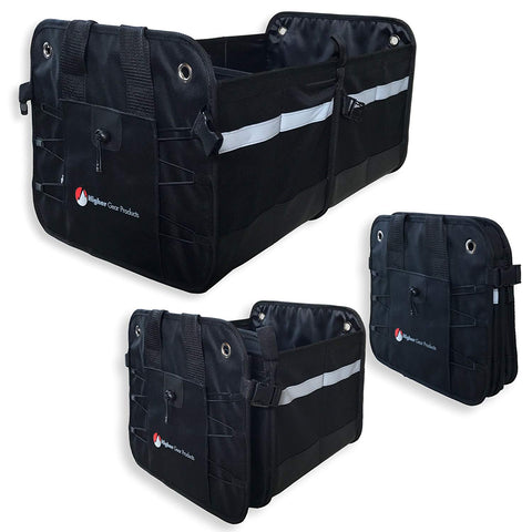 Car Trunk Organizer Features 2 Interior Compartments, 3 Exterior Pockets, Rigid Folding Bottom, No Slip Feet - Collapsible