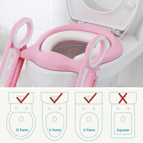 Potty Training Toilet Seat with Step Stool Ladder for Boys and Girls