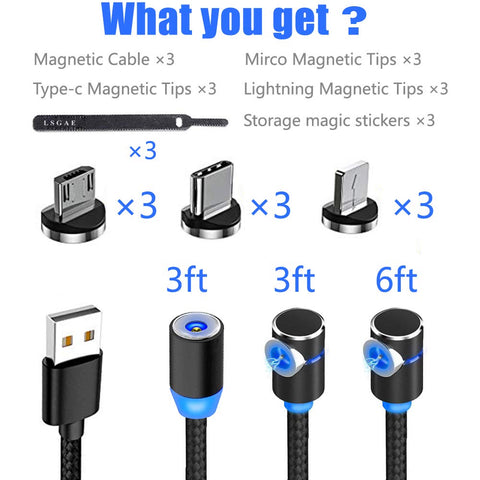 Magnetic Phone Charger Cable - 3 in 1 Cable