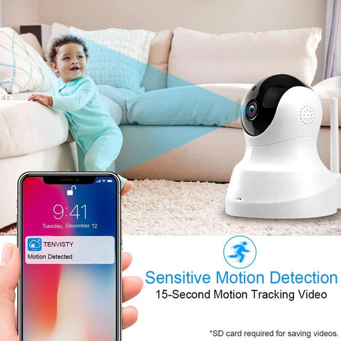 Wireless Wifi Indoor Camera for Babies and Pets with Night vision
