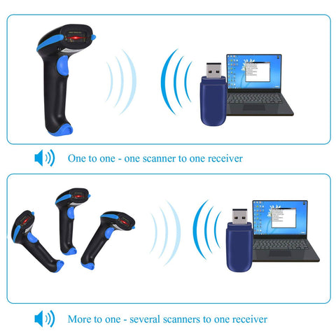 2.4GHz Wireless Barcode Scanner, Portable 2.4GHz Wireless & USB2.0 Wired Barcode Reader with USB Receiver Cable for Supermarket
