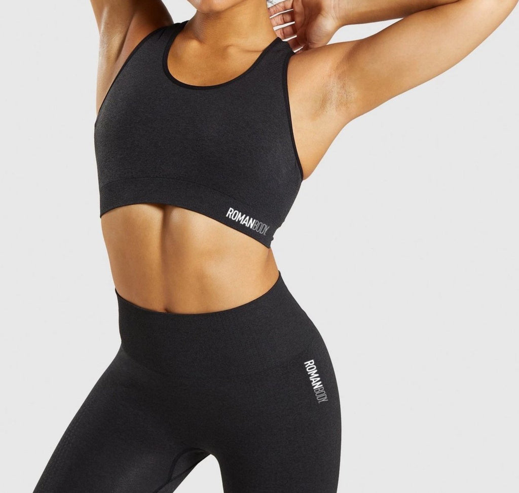 Roman Legacy Seamless Sports Bra- Black