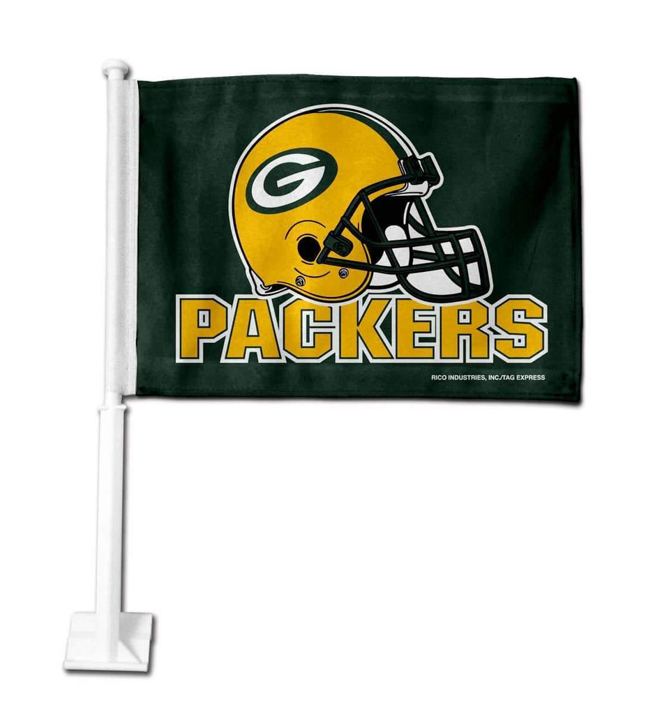 Green Bay Packers Car Flag 30x45cm with 50cm plastic pole
