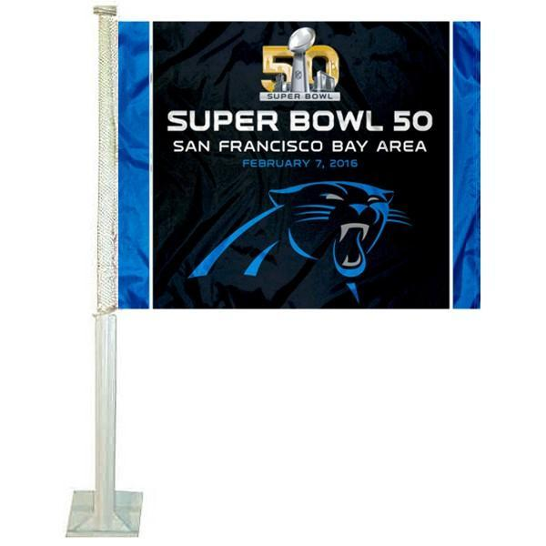 Carolina Panthers Car Flag 30x45cm with 50cm plastic pole