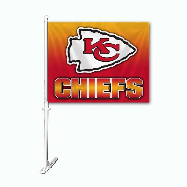 Kansas City Chiefs Car Flag 30x45cm with 50cm plastic pole
