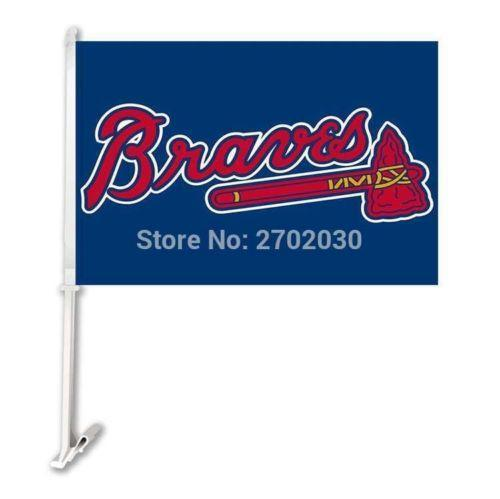 Atlanta Braves MLB Car Sport Flags For Sale Online! 30x45cm with 50cm plastic pole