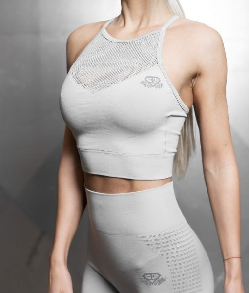 Aurora Seamless Crop Top – Light Grey