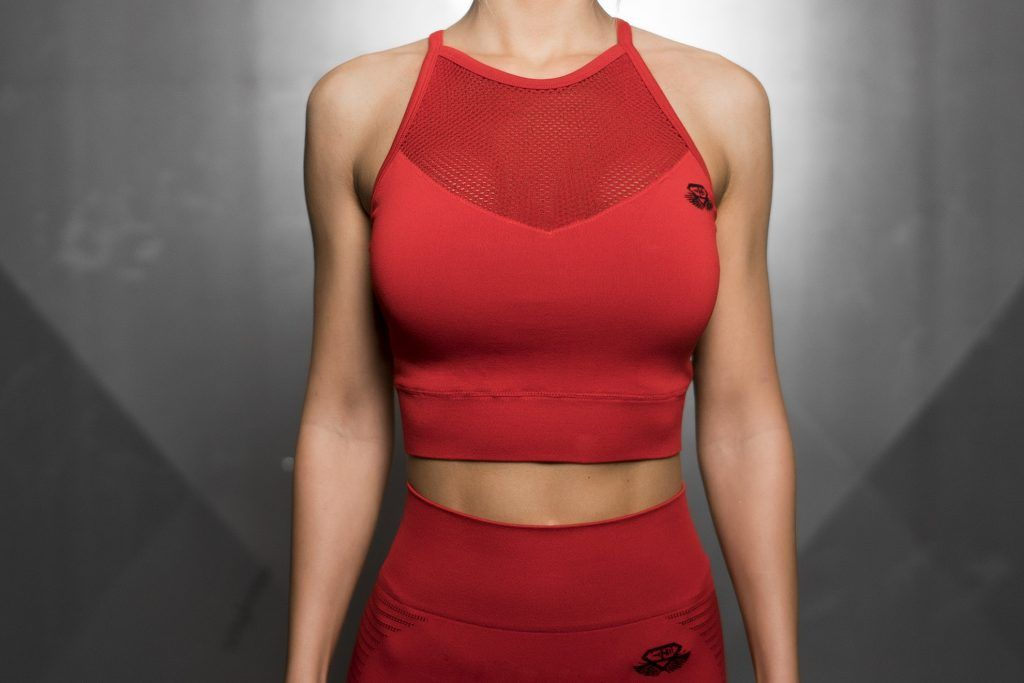 Aurora Seamless Crop Top – FIRE RED