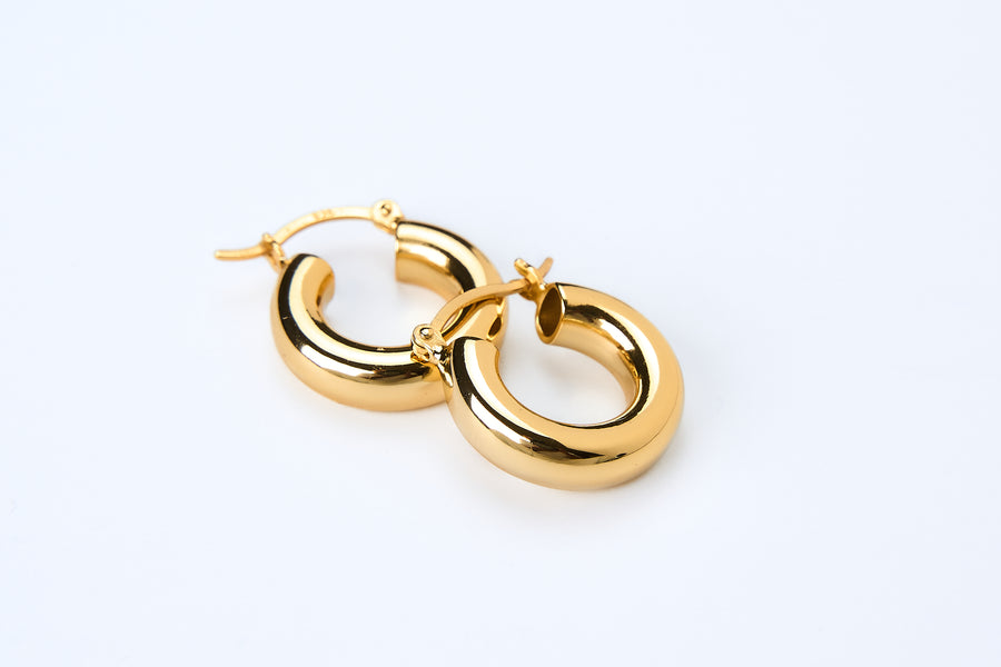 everyday essential donut hollow hoops earrings gold vermeil whatnotz.com