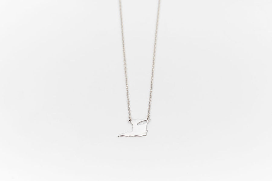 TNT Map necklace - Sterling Silver - whatnotz.com