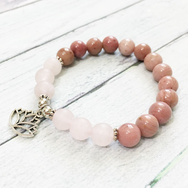 Bracelet Fleur de Lotus en  Rhodonite et Quartz Rose