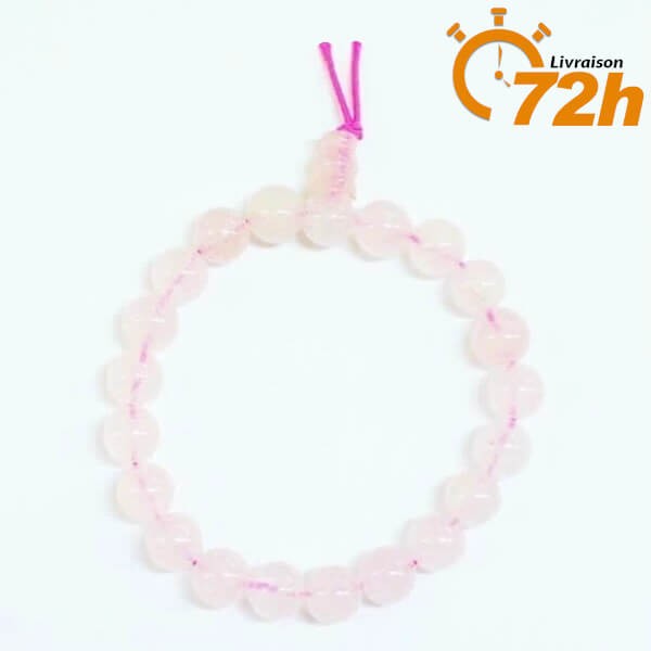 Bracelet Mala Traditionnel en Quartz Rose (disponible en livraison 72H)