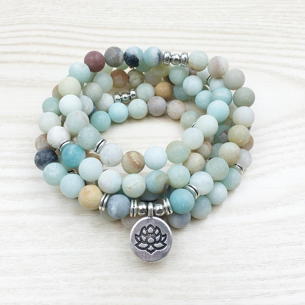 Bracelet Bouddhiste en Amazonite Naturelle-Yoga Zen Boutique