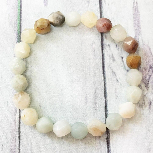 Bracelet en Amazonite - Pierres Diamant-Yoga Zen Boutique