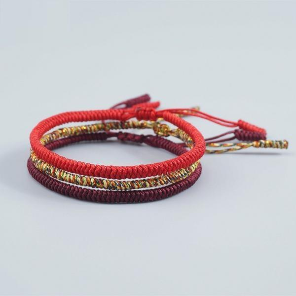 Triple Bracelet Tibétain Rouge Jaune Bordeau-Yoga Zen Boutique