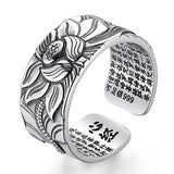 V.YA 100% Real 999 Pure Silver Jewelry Lotus Flower Open Ring For Men Male Fashion Free Size Buddhistic Heart Sutra Rings Gifts-Yoga Zen Boutique
