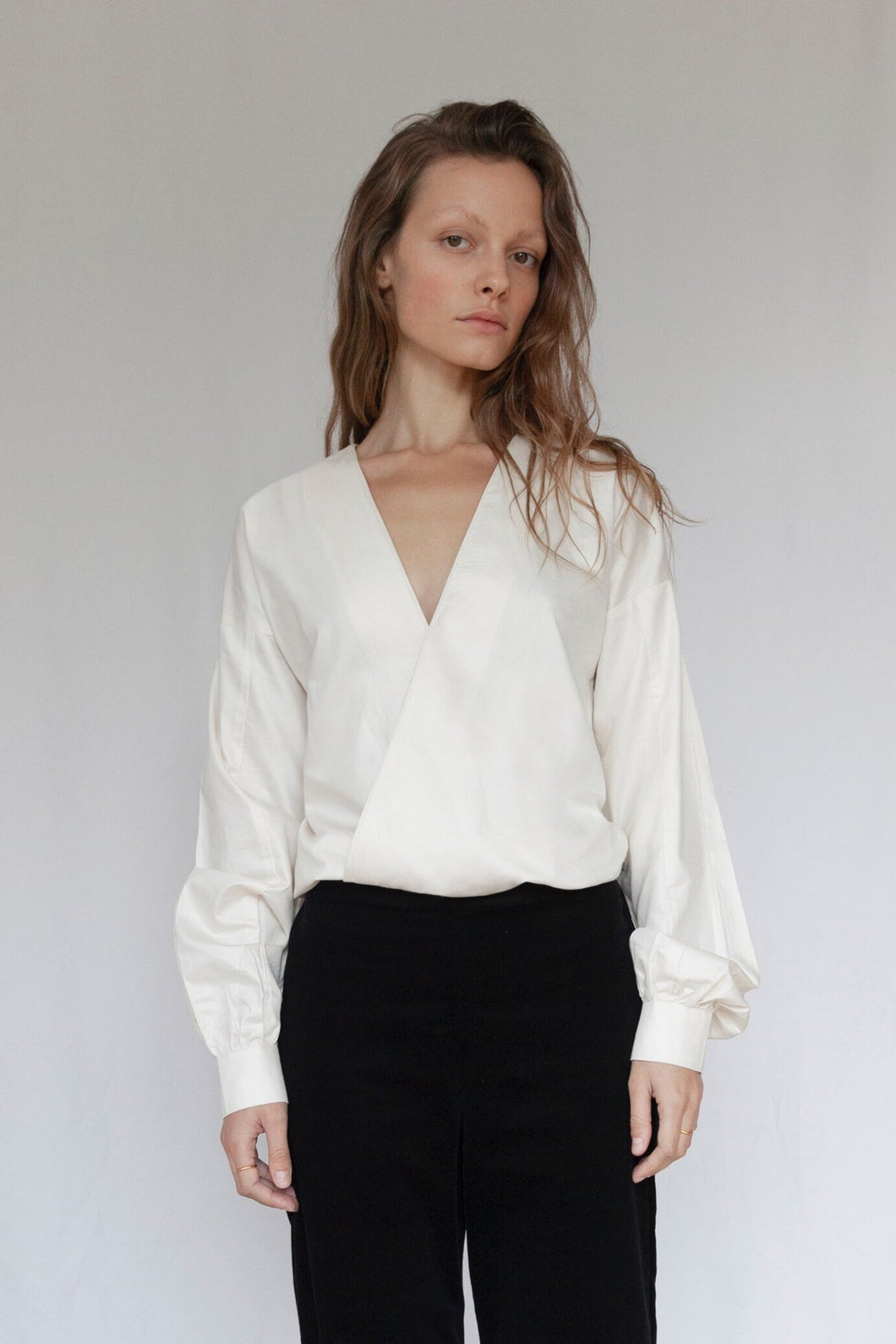 The V Ivory Organic Sateen Blouse