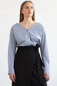 RAFE Collarless Shirt - Blue