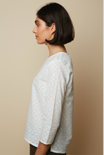 Load image into Gallery viewer, Embroidery Dotted White Organic Voile Blouse