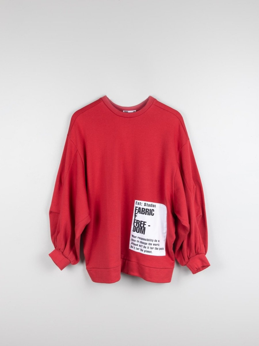 Organic Cotton Oversized Jumper With Patches, Red