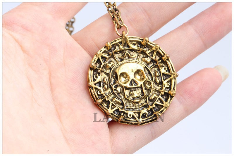 Pirates Of the Caribbean Captain Jack Coin Skull Necklace