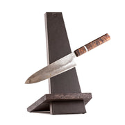 Piotr the Bear leather and oak knife stand - Cutting Edge Knives